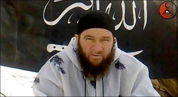 Doku Umarov, leader of the Islamic Caucasus Emirate, an al-Qaeda affiliate in the Caucasus. Image taken from a videotape in which Umarov took credit for the 2010 suicide attacks on the Moscow Metro.