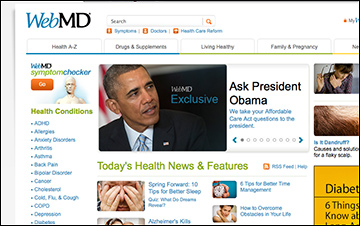 Screen grab from WebMD.com