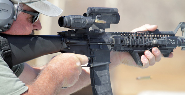 An AR-15 in action.  Credit: thebetancourts / Flickr