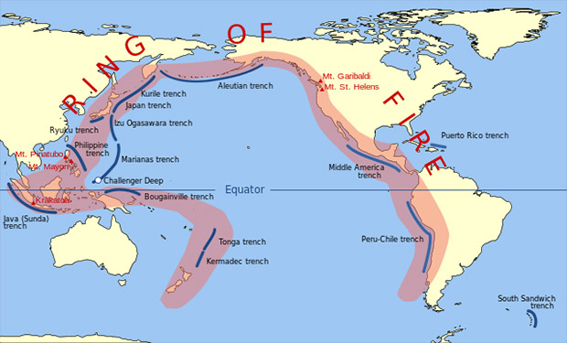 The Ring of Fire is an area where a massive number of earthquakes and volcanic eruptions occur in the basin around the Pacific Ocean.