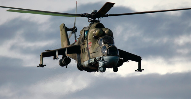 "A Russian Air Force Mil Mi-24P attack helicopter. Export versions are known as the ""Hind D"" or ""Hind E."" Credit: Russavia / Wiki"