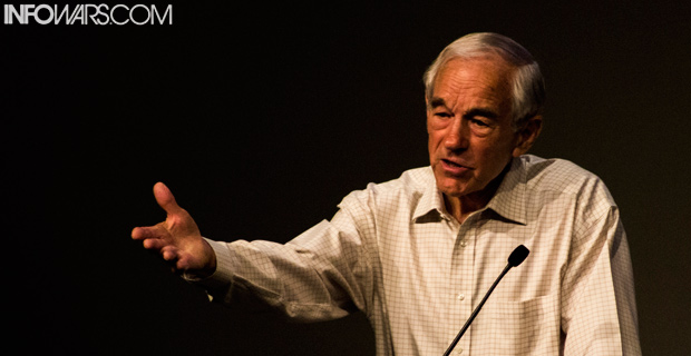 Former congressman Ron Paul speaking in San Marcos, Texas.