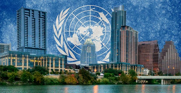 U.N. Agenda 21 encourages cities to take land rights away from private owners.  Photo credits: Austin skyline by jrandallc / Flickr, U.N. background by Nicolas Raymond / Flickr