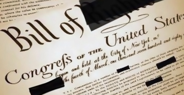 A heavily censored version of the Bill of Rights.  Credit: serfs-up.net / Flickr