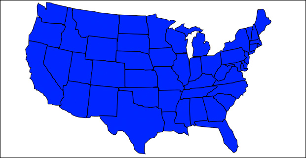 Blue represents potential Democratic strongholds if amnesty is passed.