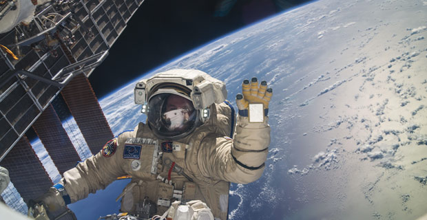 """Russian cosmonaut Sergey Ryazanskiy, Expedition 37 flight engineer, attired in a Russian Orlan spacesuit, is pictured during a session of extravehicular activity (EVA)"" on 9 November 2013. / Credit: NASA.gov"
