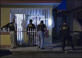 Photo of a raid taking place as part of the Drug Enforcement Administration's Operation Mallorca
