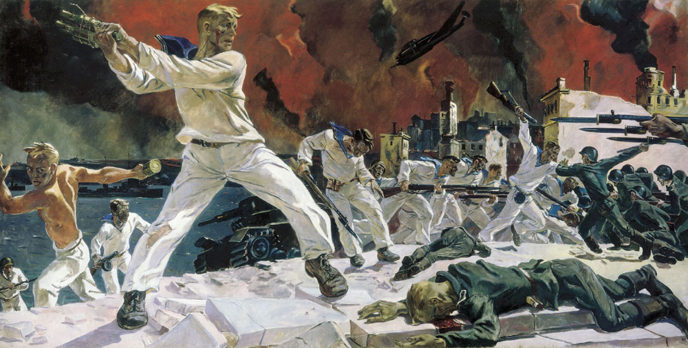 "Alexander Deyneka's painting ""Defense of Sevastopol"" (1942)."