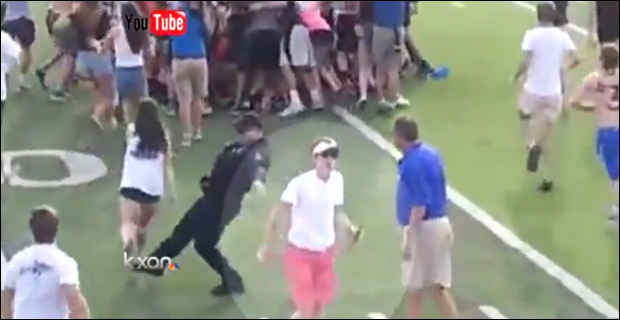 Caught on Tape: Cop Shoves, Trips High School Soccer Fans soccertrip