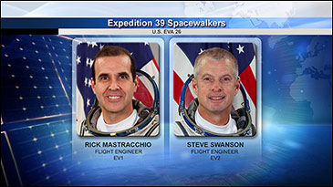 NASA spacewalkers Rock Mastracchio and Steve Swanson