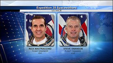 NASA spacewalkers Rock Mastracchio and Steve Swanson