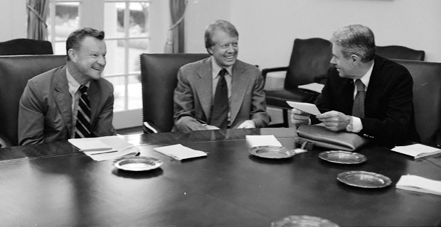 Zbigniew Brzezinski, Jimmy Carter and Cyrus Vance in 1977. As Carter's National Security Advisor, Brzezinski orchestrated a covert war against the Soviet Union in Afghanistan. Photo: U.S. National Archives and Records Administration