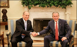 Ehud Olmert and George W. Bush