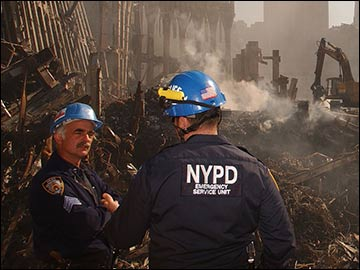 NYPD at site of the World Trade Center demolition.