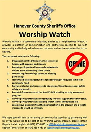 Hanover, VA sheriff announces effort to move into the pews. See the PDF here.