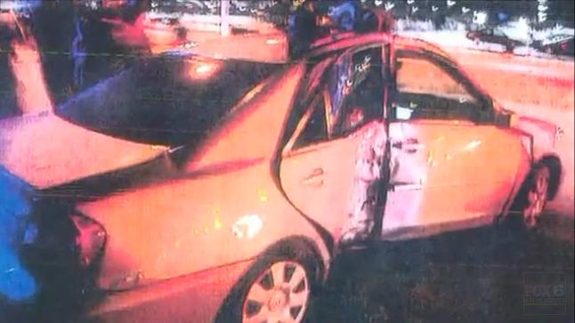 Tanya Weyker's smashed car. (Source: WITI)